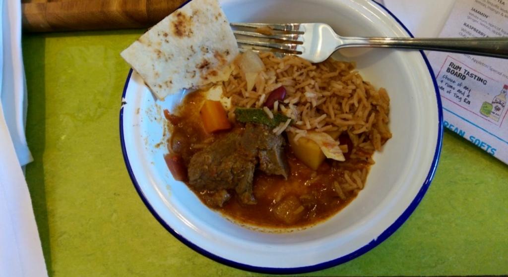 Goat Curry, Rice & Peas & Roti
