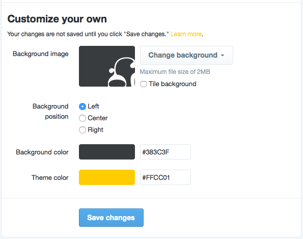 How To Set Your Twitter Theme Colour