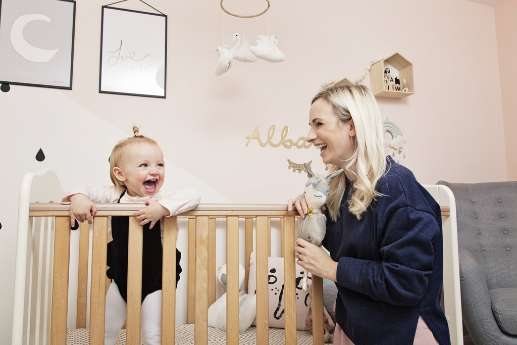 Laura Williams founder of the Modern Nursery, photographed in her daughter Alba's nursery at home.